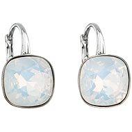 EVOLUTION GROUP 31241.7 visací čtverce white opal dekorované krystaly Swarovski® (925/1000, 2 g, bíl - Náušnice