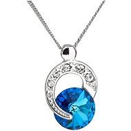 EVOLUTION GROUP 32048.5 kulatý bermuda blue dekorovaný krystaly Swarovski® (Ag925/1000, 1,8 g, modrý - Náhrdelník