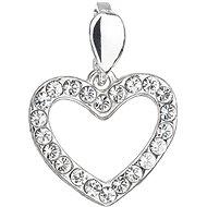 EVOLUTION GROUP 34219.1 srdce dekorované krystaly Swarovski® (925/1000, 0,8 g, bílé) - Přívěsek