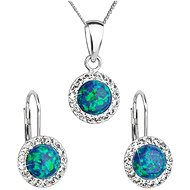 EVOLUTION GROUP 39160.1 green synth. opal set decorated with Swarovski® crystals (925/1000, 2 g) - Jewellery Gift Set