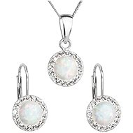 EVOLUTION GROUP 39160.1 White Synth. Opal Set Decorated with Swarovski® Crystals (925/1000, 2g) - Jewellery Gift Set
