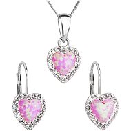 EVOLUTION GROUP 39161.1 Light Pink Synth. Opal Set Decorated with Swarovski® (925/1000, 2g) - Jewellery Gift Set