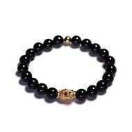 LAVALIERE Pánský korálkový 455423-Z-L (černý lesklý achát, Buddha) - Náramek