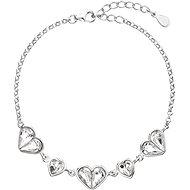 Náramek EVOLUTION GROUP 33109.1 dekorovaný krystaly Swarovski® ve tvaru srdce (Ag925/1000, 3,9 g, bílý)