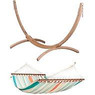 La Siesta Colada síť s tyčemi double Curacao + LA Siesta Canoa stojan pro double houpací síť wood - Set