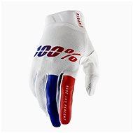 Cyklistické rukavice 100% iTRACK USA bílá/modrá/červená