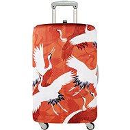 LOQI Woman's Haori White and Red Crane - Obal na kufr