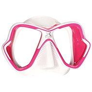 Mares X-Vision Ultra Liquidskin, bílý silikon, růžový rámeček - Maska