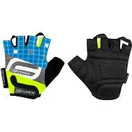 Cyklistické rukavice Force SQUARE dětské, fluo-modré
