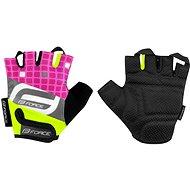 Force SQUARE, fluo-růžové - Cyklistické rukavice
