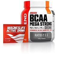 Nutrend BCAA Mega Strong Drinks (2:1:1), 400g - pomeranč + Nutrend Magneslife Active Drink, 10x15 g  - Sada