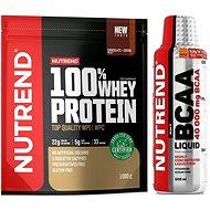 Nutrend 100% Whey Protein 1000 g, čokoláda a kakao + BCAA Liquid, 500 ml