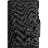 Tru Virtu Click & Slide Wallet with Leather Coin Compartment, Lizard Black/Black