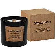 BISPOL Cedrové dřevo-vanilka s dřevěným knotem 300 g - Svíčka