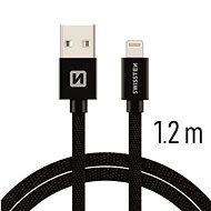 Swissten textilní datový kabel lightning 1.2m černý - Datový kabel
