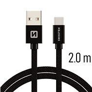 Swissten textilní datový kabel USB-C 2m černý - Datový kabel