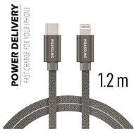 Swissten textilní datový kabel USB-C/Lightning 2m stříbrný - Datový kabel