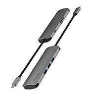 Replikátor portů Swissten USB-C HUB 6-IN-1 (USB-C PD, 3x USB 3.0, SD, MICRO SD) Aluminium