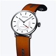 Sequent SuperCharger 2.1 Premium HR sněhově bílé s hnědým koženým řemínkem - Chytré hodinky