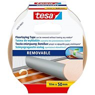 tesa Double-sided Carpet, Removable with Reinforcement, White, 10m x 50mm