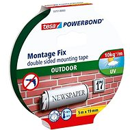 tesa Powerbond Double-Sided Foam Mounting Tape for Exterior, white, 5m:19mm