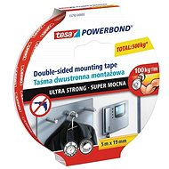 tesa Powerbond Ultra Strong Double-Sided Mounting Tape, white, 5m:19mm