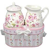 HOME ELEMENTS Porcelánová cukřenka a mlékovka - Růžové květiny - Porcelánový set