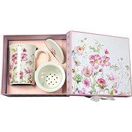 HOME ELEMENTS Porcelánový hrnek se sítkem a víčkem – Růžové květiny - Hrnek