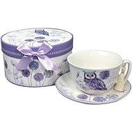 HOME ELEMENTS Porcelánový šálek na kávu s podšálkem – Fialová sova - Čajový šálek