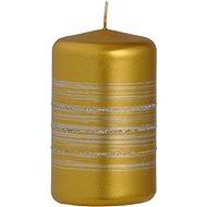 Proužek glitr Válec 55x90 zlatá svíčka - Vánoční svíčka