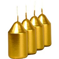 Metallic Gold Pillar Candles, 4pcs, 35 x 65mm