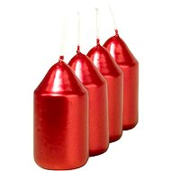 Válec 4ks 35x65 Metal červené svíčky - Vánoční svíčka