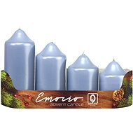 Metalic Holy Blue Advent Candles in Various Lengths, 4pcs Diam: 50mm - Christmas Candle
