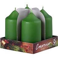 Dark Olive Pillar Candles, 4pcs, 40 x 75mm - Christmas Candle