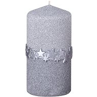 Silver Pillar Candle with Decorative Ribbon, 60 x 120mm - Christmas Candle