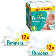 PAMPERS Active Baby-Dry vel. 4 Maxi (174 ks) + PAMPERS Sensitive (24× 56 ks)