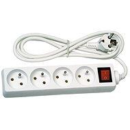 Solight Prodlužovací přívod, 4 zásuvky, bílý, vypínač, 5m - Prodlužovací kabel