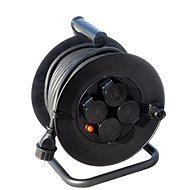 Solight prodlužovací přívod na bubnu, venkovní, 4 zásuvky, černý, 25m - Prodlužovací kabel