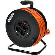 PremiumCord prodlužovací kabel 230V 50m buben, 4x zásuvka, oranžový - Napájecí kabel