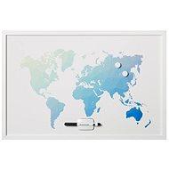 "VICTORIA ""World Map"" 40x60cm, bílý rám - Magnetická tabule"