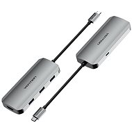 Vention USB-C to HDMI / USB 3.0 x 3 /PD Docking Station 0.15M Gray Aluminum - Replikátor portů