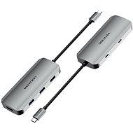 Vention USB-C to HDMI / USB-C 3.2 Gen 1 / USB 3.0 x 3 / PD Docking Station 0.15M Gray Aluminum - Replikátor portů