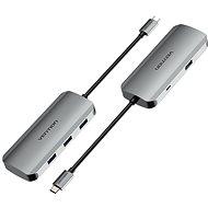 Vention USB-C to USB 3.0 x 4 / Micro USB-B Hub 0.15M Gray Aluminum - USB Hub