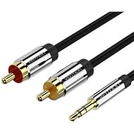 Vention 3.5mm Jack Male to 2x RCA Male Audio Cable 1m Black Metal Type - Audio kabel