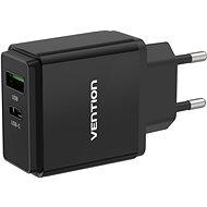 Vention USB-A Quick 3.0 18W + USB-C PD 20W Wall Charger Black - Nabíječka do sítě