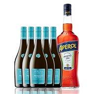 Dárková sada 1 l Aperol + 5x Prosecco DOC Frizzante 0,75l - Šumivé víno
