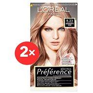 ĽORÉAL PARIS Préférence 8.23 Shimmering Rose 2× 60 ml - Barva na vlasy
