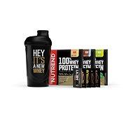 Nutrend Šejkr + 3x 100% Whey Protein 30g, mléčné příchutě - Shaker