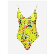 PIECES Žluté květované jednodílné plavky Naomi - Dámské plavky