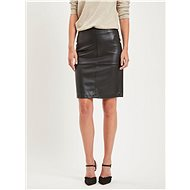 VILA Černá koženková pouzdrová sukně s rozparkem Pen New - Sukně